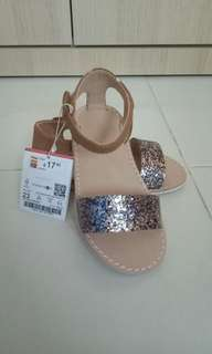 ZARA Baby Leather With Glitter Sandal