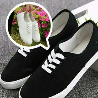 White and Black Basic Sneakers