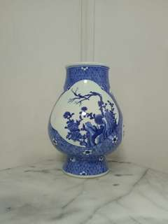 Antique blue and white flower vase height 34cm perfect