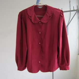 古著 暗紅襯衫