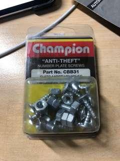 ANTI-THEFT number plate screws