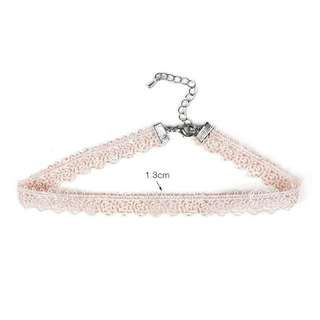 (PO) Sweet Pink Rose Floral Choker