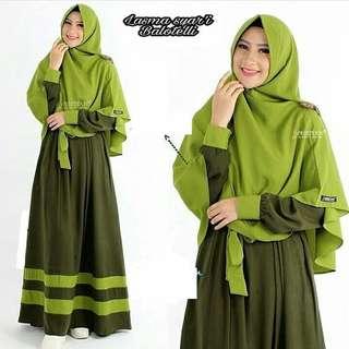 IKN - 0318 - Dress Gamis Busana Muslim Wanita Lasma syari Plus Khimar