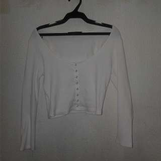 F21 white long sleeves crop top