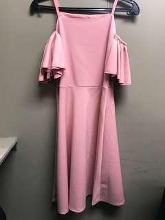 Dress Pink Off Shoulder