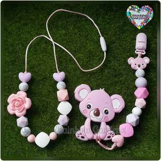 Handmade beads necklace & Pacifier Clip + Koala teether