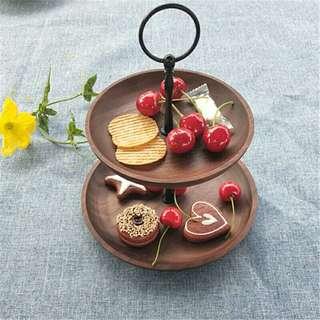 Wooden 2 Tier Snack Tray