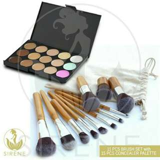 Makeup brush 11pcs bamboo design w/ concealer palette and pouch