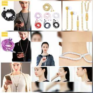 Preorder Earphone Microphone for Iphone with Rhinestone & Pearl
