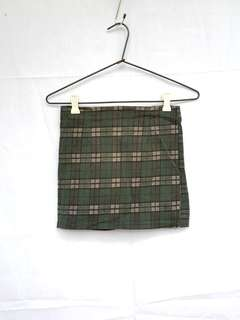 Green Plaid Mini Skirt