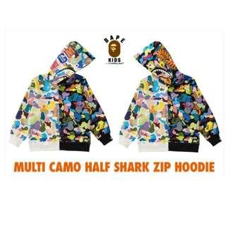 BAPE KIDS MULTI CAMO HALF SHARK ZIP HOODIE