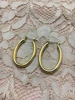 Gold Oval Loop Earrings
