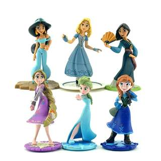 New 6Pcs Princess Frozen Elsa,Anna,+Fa Mulan Cake topper Figure toys