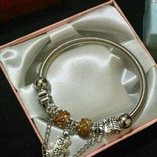 Pandora inspired bracelet with yellow stone