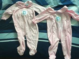 Baby girl long sleeved onesie pyjamus