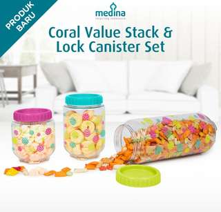 Toples isi 3 pcs bisa disusun - Coral Value Stack & Lock Canister Set