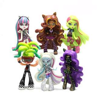 6Pcs Monster High Figure cake topping