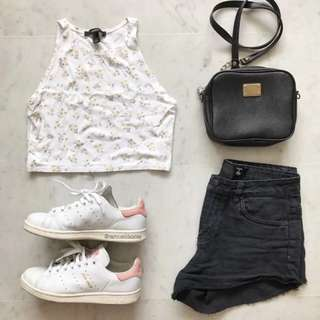 Forever 21 White Floral Cut In Crop Top