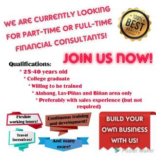 Hiring part-time or full-time Financial Consultants