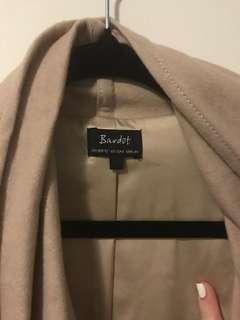 Bardot drape leather jacket