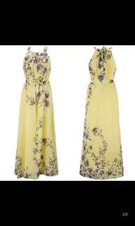 Yellow chiffons dress size XL