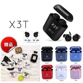 (送精美蘋果有線彩色耳機) (一年保養) 全新 X3T 無線雙耳藍牙耳機連充電盒套裝 輕觸式設計 (X2T 升級版) X3T Wireless earphones X3T Mini Wireless Bluetooth V4.2 Twins Stereo In-Ear Headset Earphone Earbuds with Charging Box With Mic!!!!!!