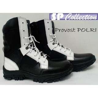 Sepatu PDL Provost polri - 100% kulit sapi asli kelas 1