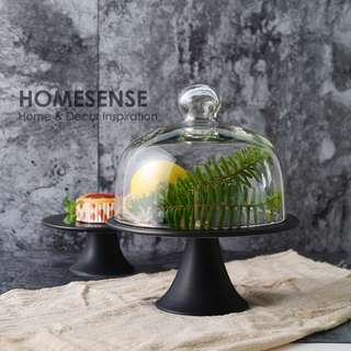 Matte Black Cake Stand With Dome