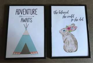 Children's art prints A4 size, framed