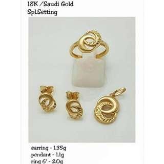 "18K SPL SAUDI GOLD SET ( PENDANT, RING & EARRINGS ) "":"":"":"