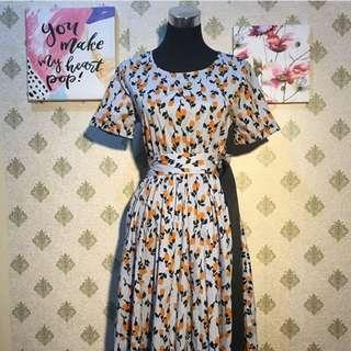 Lemon Print Midi Dress