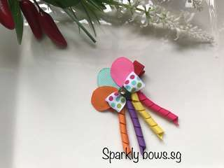 Handmade Grosgrain Ribbon Balloon sculpture hairbow/ hair clip/ hair bow/ hairclip/