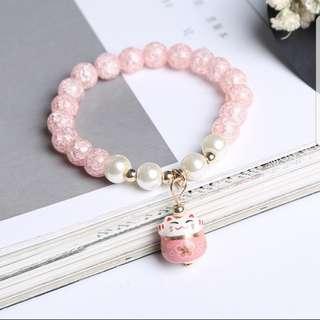 Pink Crystal Fortune Cat Charm Bracelet