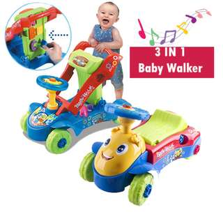 3IN1 My 1st Steps Push&Ride Baby Walker Ride on Car Toy Blue