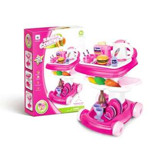 Children Kitchen Utensils Simulation Car Kitchen Trolley