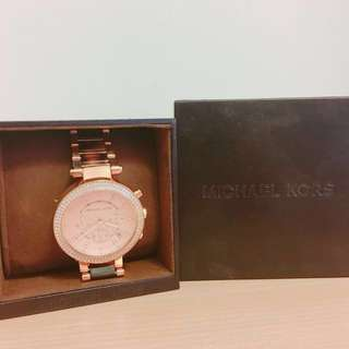 Michael Kors 琥珀玳瑁錶帶 玫瑰金 三眼計時 手錶 腕錶 MK