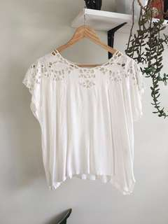 Handmade Floaty White floral cut out top