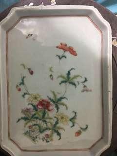 民国 粉彩花卉瓷盘