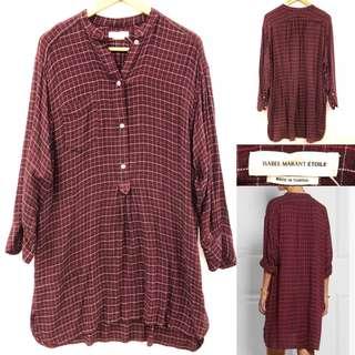 34 Isabel Marant burgandy checked shirt dress