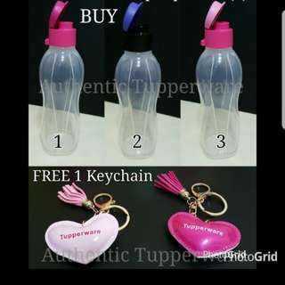 Authentic Tupperware  Eco Bottle 500ml Flip Top  《Retail Price S$10.50/Piece》  FREE 1 Keychain  pink color
