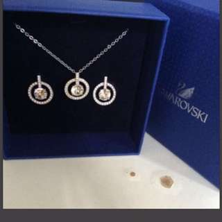 Swarovski Circle Locked Necklace and Earrings set