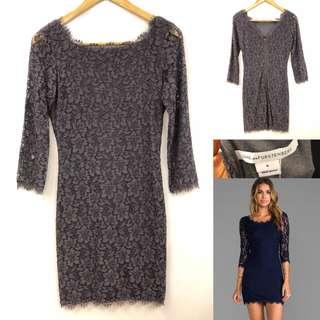 4 DVF dark gray lace dress
