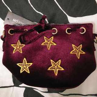 Small Red Velvet Sling Bag