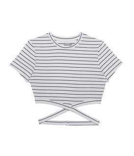 6ixty8ight Striped Cropped Top