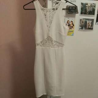 White Lace Bodycon Dress Size 6