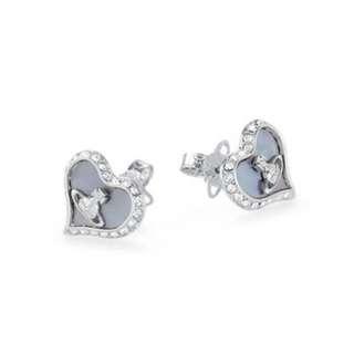 Westwood心形閃石邊耳環 / 英國代購 / Westwood真品 / 西太后