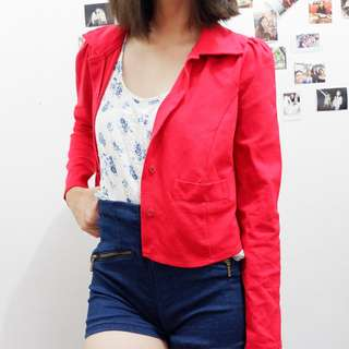 Red Collared Button-Up Cardigan
