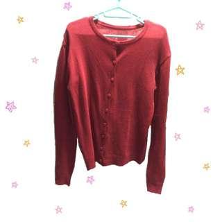 紅色針織冷外套