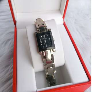 Anne Klein Black Face Square Silver Watch