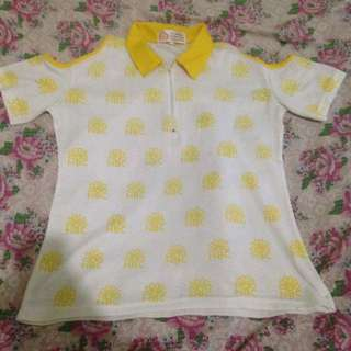 Yellow Off-Shoulder Cropped Top Polo